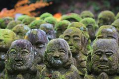 A stone statues representing disciples of Buddha. The Otagi Nenbutsu ji Temple, Kyoto, Japan Royalty Free Stock Photography