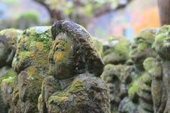 A stone statues representing disciples of Buddha. The Otagi Nenbutsu ji Temple, Kyoto, Japan Royalty Free Stock Photo