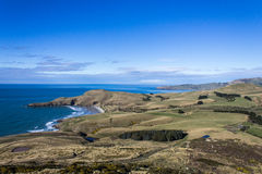 Otago Peninsula. Scenic view of Otago Peninsula coastline, Dunedin, New Zealand stock images