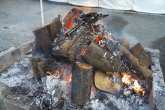 Otakiage, burn old charms at shrine Stock Images