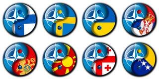 OTAN e Finlandia, Suécia, Ucrânia, Sérvia, Montenegro, Macedônia, Geórgia, Bósnia Imagem de Stock