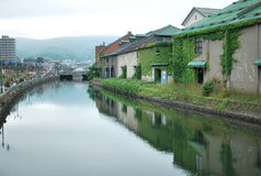 Otaru canal in cloudy skies Royalty Free Stock Photography
