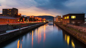 Otaru canal at dusk in Hokkaido Royalty Free Stock Photography