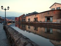 Otaru canal in evening winter Royalty Free Stock Image