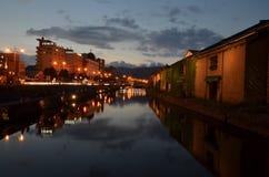 Otaru Canal Japan. Night long exposure Royalty Free Stock Photography