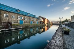 Otaru canal. Was once a central part of the city`s busy port in the first half of the 20th century. Now, fanked by restaurants, shops & vendors, this historic Royalty Free Stock Photo