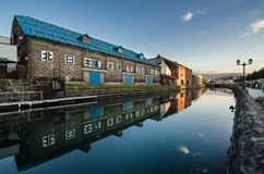 Otaru canal. Was once a central part of the city`s busy port in the first half of the 20th century. Now, fanked by restaurants, shops & vendors, this historic Stock Photography
