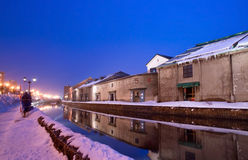Otaru Canal in Winter. The famous Otaru Canal, Japan on a winter evening stock photo