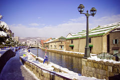 Otaru canal in winter Stock Photography