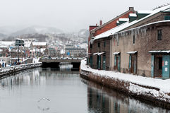 Otaru Canal in winter, Hokkaido, Japan. Flanked by quaint warehouses and a promenade Royalty Free Stock Photos