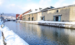 Otaru canal in winter , Hokkaido, Japan Royalty Free Stock Photos