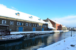 Otaru canal in winter , Hokkaido, Japan Royalty Free Stock Image