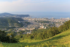 Otaru cityscape viewed from the mountains Stock Image