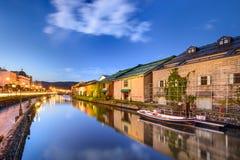 Otaru, de Pakhuizen van Japan en Kanalen stock foto