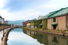Otaru, historisk kanal och warehousedistrict i Hokkaido, Japan Arkivfoto
