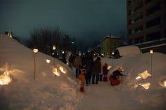 Otaru Hokkaido, glimma festival för snö arkivbilder