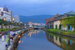Otaru, Japan historic canal and warehouse, Sapporo, Hokkaido. Stock Images