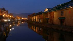 Otaru, Japan historic canal and warehousedistrict stock video footage