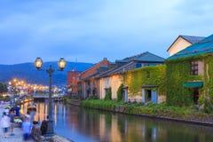 Otaru, Japan historisk kanal och lager, berömd turist- attrac arkivfoton