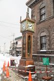 Otaru, Japan, January 28, 2018: Marchen Crossroads has a steam c. Lock and it brings an exotic atmosphere in the tourist city of Otaru Royalty Free Stock Photo