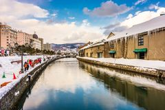 Otaru, Japan Winter Skyline royalty free stock photography