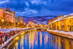 Otaru, Japonia zimy iluminacja Obraz Royalty Free