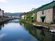 Otaru kanal i sommar - Hokkaido, Japan Arkivfoto