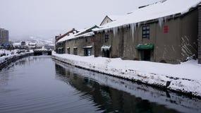 Otaru kanal i vinter - Hokkaido, Japan Arkivbild