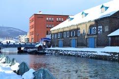 Otaru kanal i vinter, Hokkaido, Japan Fotografering för Bildbyråer