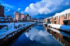 Otaru-Kanal im Winter lizenzfreies stockfoto