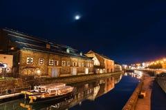 Otaru-Kanal mit antikem Lager lizenzfreie stockbilder