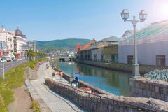 Otaru kanal på Hokkaido, Japan arkivbild