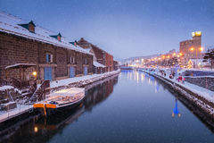 Otaru-Kanal am Winter-Abend Stockbild