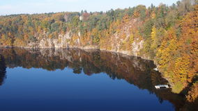 Otava river in the autumn. South Bohemia, Czech Republic royalty free stock photography