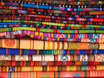 Otavalo Blankets. Woven Blankets for sale in a market in Otavalo, Ecuador
