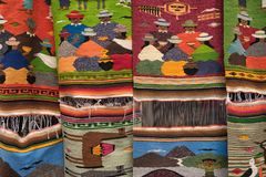 Indigenous textiles in Otavalo Ecuador. Otavalo, Ecuador - January 13, 2018: colourful indigenous textiles in the popular artisan market Royalty Free Stock Photography