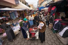 Saturday market on the street of Otavalo Ecuador Royalty Free Stock Images