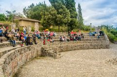 OTAVALO, ECUADOR - MAY 29, 2018: Outdoor view of unidentified people enjoying the show in the flight platform used for stock photos