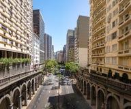 Otavio Rocha viaduct over Borges de Medeiros Avenue in downtown Porto Alegre city - Porto Alegre, Rio Grande do Sul, Brazil. Otavio Rocha viaduct over Borges de Royalty Free Stock Photo