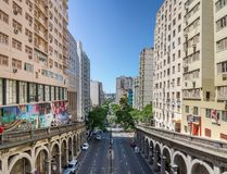 Otavio Rocha viaduct over Borges de Medeiros Avenue in downtown Porto Alegre city - Porto Alegre, Rio Grande do Sul, Brazil Royalty Free Stock Images