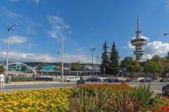 OTE kwiaty w przodzie w mieście Saloniki i wierza, Środkowy Macedonia, Grecja Fotografia Stock