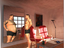 Other. Man sees his overweight self in mirror Stock Photography