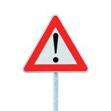 Other Danger Ahead Warning Road Sign Pole isolated Stock Photos