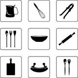 Other kitchenware. Kitchenware objects black and white silhouettes Royalty Free Stock Image
