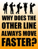 Other line. Wondering why the other queuing line always goes faster vector illustration