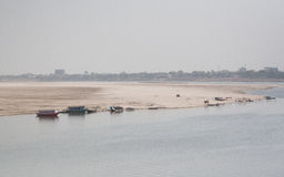 The other side of Ganga. Holy river in Varanasi, Uttar Pradesh, India Stock Photography