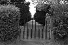 The entrance to a Victorian English country cemetery royalty free stock image