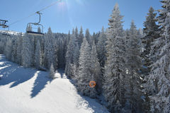 Other side of ski lift Stock Images
