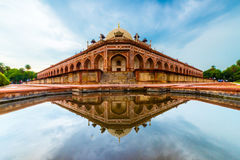 Other Side of Tomb. A reflection just after rain at Humayuns Tomb, Delhi, a UNESCO Heritage site stock photo