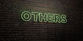 OTHERS -Realistic Neon Sign on Brick Wall background - 3D rendered royalty free stock image. Can be used for online banner ads and direct mailers royalty free illustration